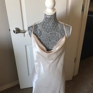Champagne long silky prom dress